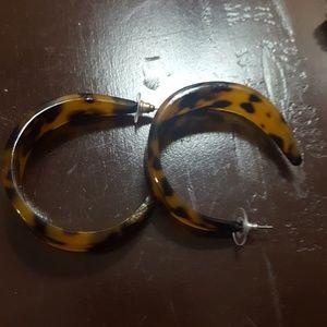 Large tortoise hoop earrings